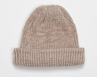 SALE -50% Fisherman beige ribbed beanie with pearl white mixed yarn