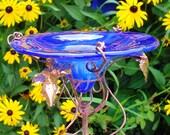 BUTTERFLY FEEDER, Cobalt Blue, stained glass, copper garden art, Suncatcher, Garden Stake
