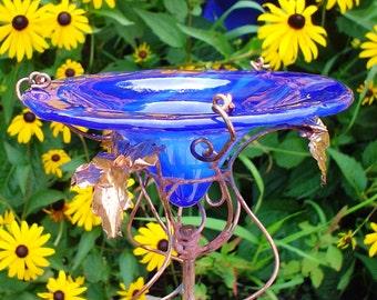 BUTTERFLY FEEDER, Cobalt Blue, stained glass, Iridescent, copper garden art, Suncatcher, Garden Stake