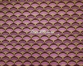Fan, purple, gold metallic, 1/2 yard, pure cotton fabric