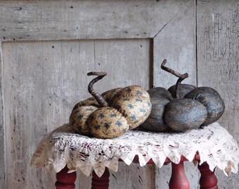 Primitive Fabric Blue Pumpkin, Fall Harvest Decor, Folk Art Decoration