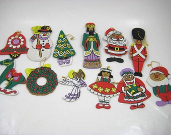 Vintage Hand Painted Flat Wood Christmas Ornaments, 2 - Sided Wooden Ornaments, Lot of 12 Retro Wooden Ornaments, Toy Soldier, Elf, Snowman