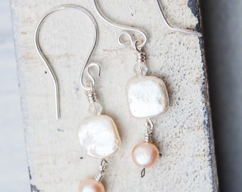 Small Pearl Earrings, White, Pearl Earrings, bridal earrings, peach