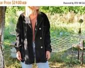 SALE Black Corduroy Coat Vintage 70's fall jacket