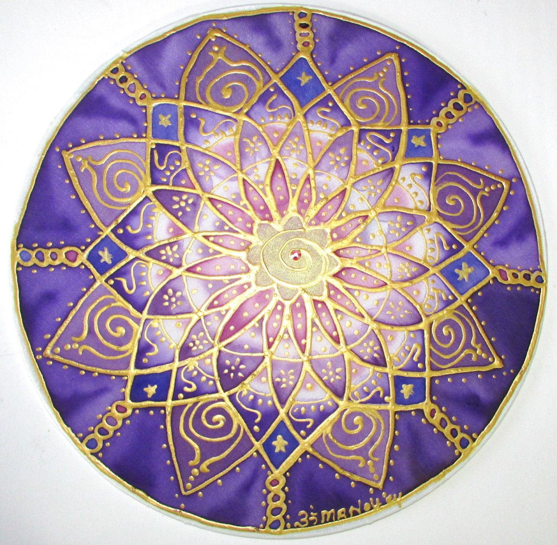Purple chakra mandala artspiritual gift by HeavenOnEarthSilks