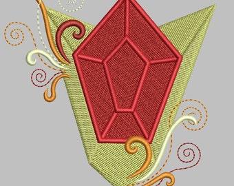 Zelda Machine Embroidery design - Goron Ruby EMBELLISHED