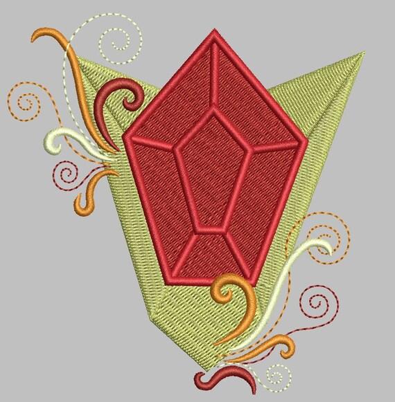 Zelda Machine Embroidery Design Goron Ruby EMBELLISHED 4x4
