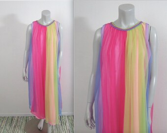 Vintage 60s Carnival of Colors Nylon Chiffon Long Nightgown L
