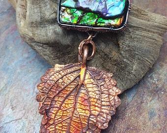 Rainbow Ammolite Artisan Copper PMC Leaf Pendant