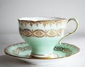 Paragon Teacup and Saucer / Mint Green Corset Tea Cup / Paragon China Vintage Teacup