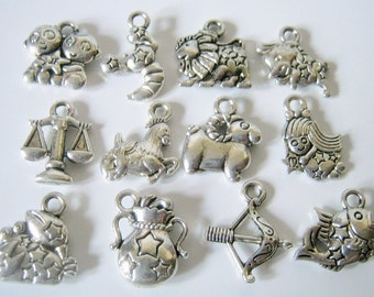 12 Antique Silver Zodiac Charms, Jewelry Making charms, Horoscope Charms