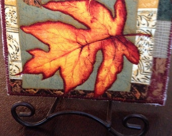 Fall Leaf Quilted Postcard