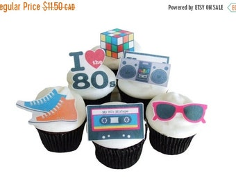 SALE Cake Cupcake Toppers 80s THEME PARTY - 12 Edible Cupcake Toppers - Birthday Party Decorations - Cake Topper - Diy Party Decorations