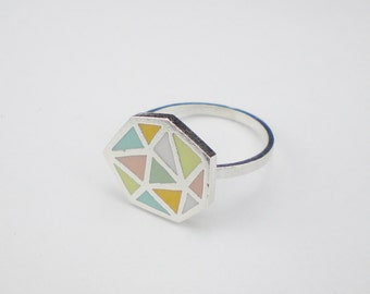 GEOMETRIC PATTERN RING / Polymer clay and sterling silver ring /Multicolor triangle pattern ring / Pastel color geometric pattern ring