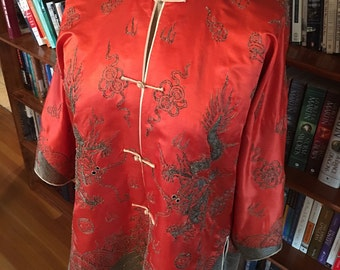 STUNNING 1920s Art Deco Oriental Silk Jacket in Vibrant Coral with incredible Dragon Embroidery Detailing