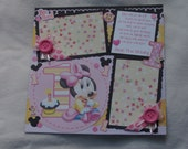 Disney Baby Minnie Mouse 1st Birthday Pink Party One Cupcake 12x12 Premade Scrapbook Page by KARI