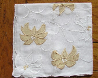 Vintage Detailed Handkerchief with flowers in one corner