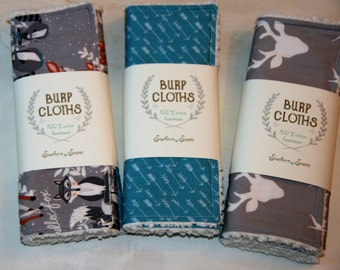 Baby Burp Cloths Cotton Chenille Woodland Animals Deer Arrows Grey Teal Baby Shower Gift