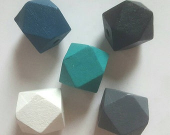 Wooden Geometric Polyhedron Faceted Bead x5 - Teal & Monochrome Mix - Medium 20mm