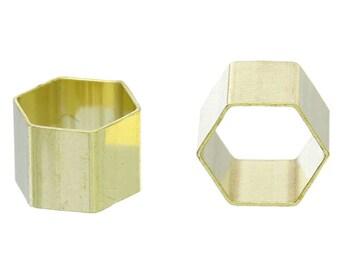 8pcs Medium Brass Hexagonal Tube Spacer Bead - 11mm x 10mm