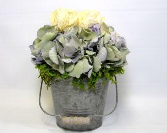 Dried Flower Arrangement, French Country Arrangement,  Dried Hydrangea
