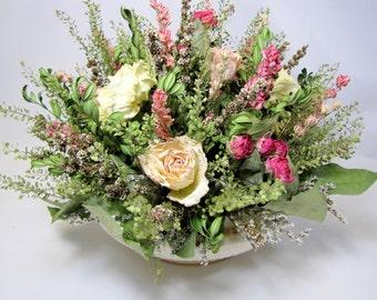 Dried Flower Centerpiece, Floral Arrangement, Vintage Sebring Ivory Porcelain