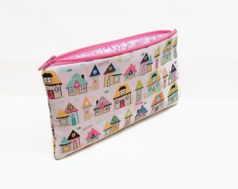 pencil case zipper pouch zipper bag makeup bag makeup pouch houses home pink