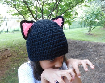 Pretty Kitty Black Crochet Hat Baby Girl or Baby Boy Photography Prop Costume All Sizes  from Preemie to Adult