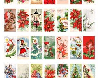 Christmas clipart, instant download domino pendant--Women girls Christmas tree poinsettias--printable digital collage sheet, 8.5 by 11 1742