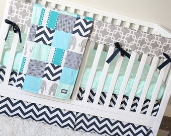 Elephant Baby Bedding Mint Arrow Crib Sheet Gray Geometric Rail Guard Navy Blue