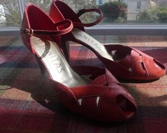 Coral leather heels sandals Hispanitas uk 7 , eu 40 worn once