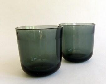 2 Vintage Nuutajarvi Notsjo Old Fashioned or Lowball Glasses - Finland, Grey Gray Smoke, Iittala, Kaj Franck, Bar Barware, Danish Modern