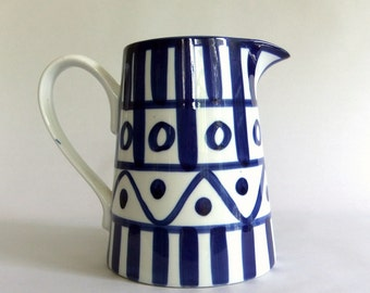 Vintage Blue and White Dansk Arabesque Serving Pitcher, Vase - Bold Graphic, Hand Painted, Danish Scandinavian Modern, Bar Entertaining