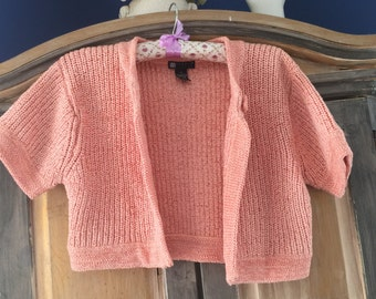 Carole Little Knitted Peach Cardigan Shrug Goes Over Everything Size Small