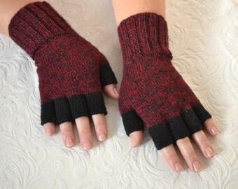 Hand knitted half finger gloves, winter gloves