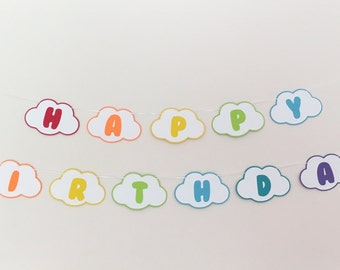 Cloud Rainbow Happy Birthday Banner