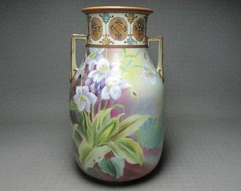 Nippon vase , M in a wreath logo , hand painted , beading , angular handles , M in wreath mark used 1911 - 1921 Morimura