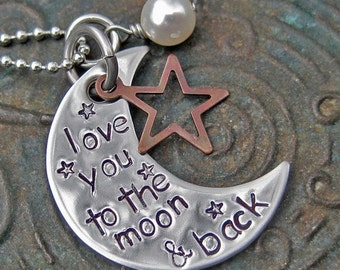 Mothers Day Valentines Day - Stamped Jewelry - love you to the moon - Mommy Necklace - Mothers Necklace - Personalized Jewelry