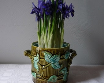 French Majolica French Vintage Canister faience - french kitchen - french ceramic