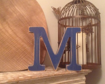 Hand-painted Wooden Letter M - Freestanding - Rockwell Font - Various sizes, finishes and colours - 30cm