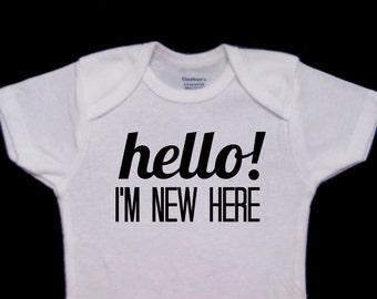 Hello! I'm New Here Cute Baby Onesie Bodysuit