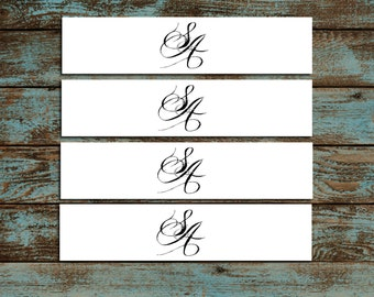 Monogram with Ampersand 100 Wedding Napkin Ring Cuffs Wraps. Personalized and Printed wedding napkin favors
