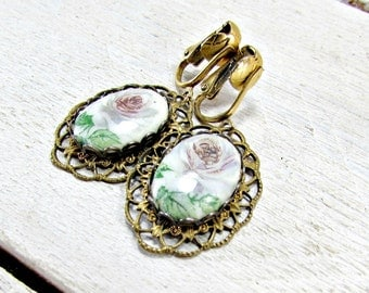 Vintage Porcelain Cameo Earrings, Lavender Pink Rose Flower Earrings, Brass Filigree Earrings, Clip-On Dangles Earrings, 1970s  70s Jewelry