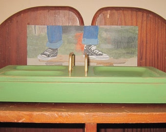 Mens' Wood Valet - Rustic Dresser Top Organizer for Dad -  Accessory Tray & Storage Box - Distressed in Green