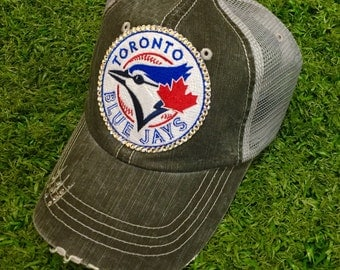 Toronto Blue Jays Baseball Bling Swarovski Ladies Womens Trucker Hat