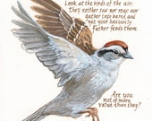 Christian Wall Art - Original Sparrow painting with Christian scripture typography - Luke 6