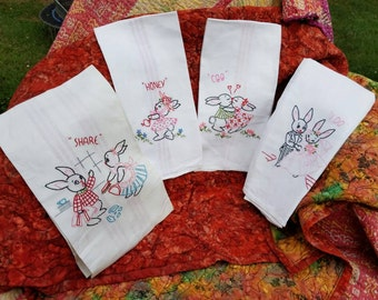 Antique Embroidered Linen Hand Towel Set Bunnies In Love Exceptional Find Useable Decor by AntiquesandVaria
