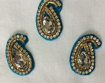 Set of three -Paisley  hand embroidered applique in blue with faux Swarovski crystals