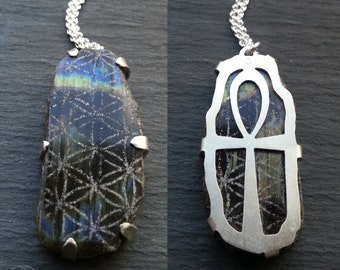 Ankh Flower of Life Pendant - Sterling silver and Labradorite - Handcrafted Sacred Geometry Jewellery