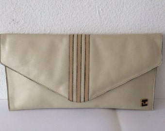 Ted Lapidus stylish beige leather clutch